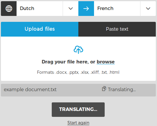 Let judicio translate your documents. You will see a progress indication for all files.